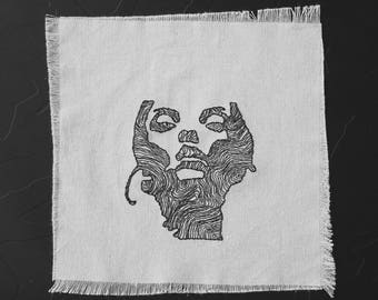 wooden Jane Doe Converge - hand embroidery