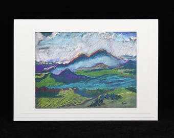 Mountain Rain Note Card, Arizona Pastel Painting by Karlene Voepel, Art Card