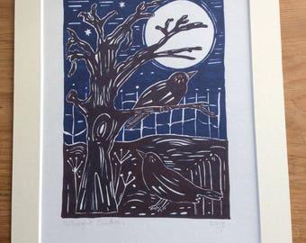 Bird print, Blackbird art, Linocut style, Blackbirds print, Bird Art, Bird Lovers Gift, Home Decor, Wall Art