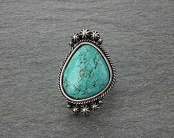 Big Natural Turquoise Adjustable Ring-R750119001