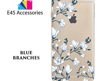 BLUE BRANCHES Floral Flower Hard Case for iPhone 5S 5 SE, iPhone 6S 6 or iPhone 7