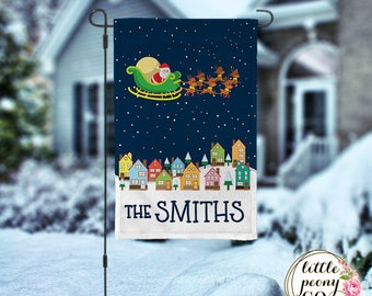 Personalized Christmas Garden Flag - Santa's Sleigh Christmas Garden Flag