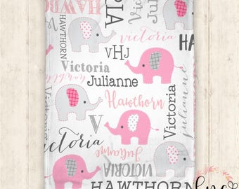 Personalized Baby Blanket - Personalized Blanket - Elephant Blanket - Name Blanket - Elephant -  Name Blanket