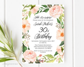30th Birthday Invitation, Floral Birthday Invitation, Watercolor Birthday Invite, Any Age, PERSONALIZED, Digital file, #W34