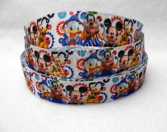 "LAST CUT of Mickey Mouse Club House Disney on White 7/8"" Grosgrain Ribbon 10 yards. Minnie, Pluto, Goofy, Daisy, Donald"