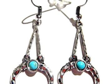 Hanging Crescent Moon Earrings silver  ox horn geometric bohemian half moon earrings hanging-silver