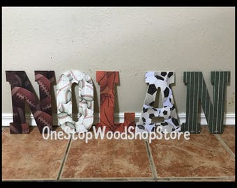11in Sports letters, basketball, soccer, football, nursery decor, baseball, nursery decor, wooden letters, sports nursery, nursery letters