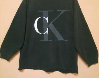 Vintage CK Calvin Klein Jumper Sweatshirt Big Logo Spell Out L size