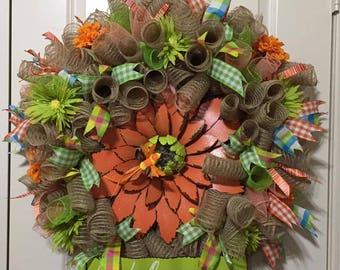 Spring Summer Orange Flower Welcome Wreath