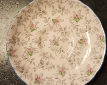 Vintage Tuscan Fine English Bone China/Made in England/rosebud pattern/circa 1947/retro/antique/saucer/dishware/bread & butter plate/serving