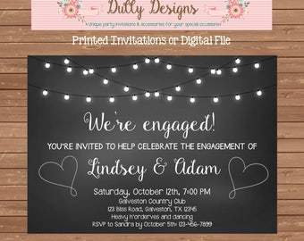 Engagement Party Invitation, Engagement Party Invite, Engagement Party, Engagement Invitation, Engagement Invite, Lights Engagement Invite