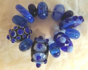Vic's Glass Creations - Cobalt Collection - handmade lampwork focal bead set - SRA