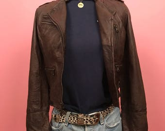 Brown real leather distressed moto jacket S