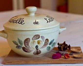 Chique Table bin stoneware chique table bin stoneware French enamel Pot rustic de Table, Terra cotta Pot