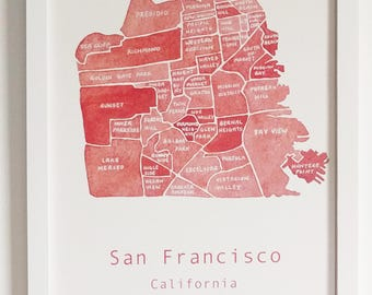 San Francisco Map, Water Color Painting, Poster, Art Print