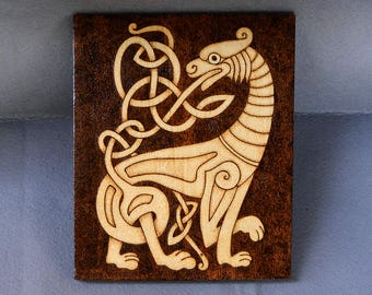 Wood Burned Tiger Celtic Gift For Home Pyrography Plaque Celtic Wall Art Wooden Home Decor Celtic