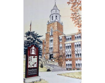 Southern Illinois University Carbondale LIMITED EDITION Pen and Ink and Watercolor Art Print Illustration - Graduation Gift, Alumni