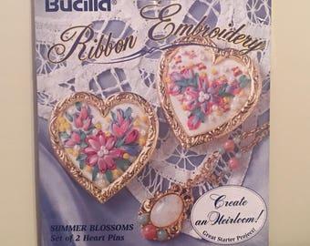 Bucilla Ribbon Embroidery Kit Summer Blossoms Set of 2 Heart Pins