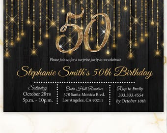Gold Invitation Etsy - Editable birthday invitations for adults