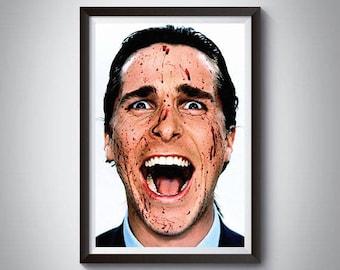 American Psycho Inspired Art Poster Print, American Psycho, Patrick Bateman,  Christian Bale Poster