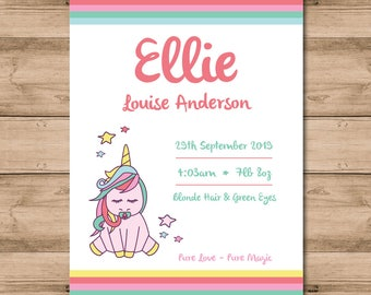 Canvas, Personalised Baby Statistics Wall Art, Magical Unicorn, Baby Girl Nursery, New Baby Gift