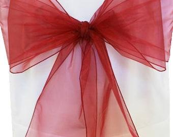Chair Sashes,  10  burgundy Organza Chair Sashes,  wedding organza chair sashes, chair bows, chair ties.