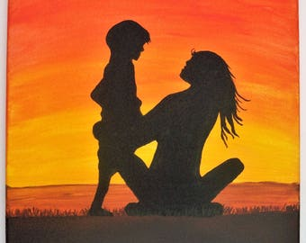 Original Folk Art Painting: Mother and Child Beach Silhouette with Sunset