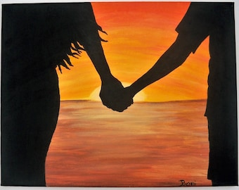 Original Folk Art Painting: Holding Hands Beach Silhouette with Sunset