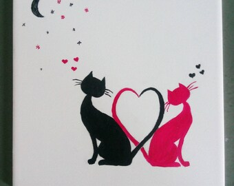 Street romantic cats in love
