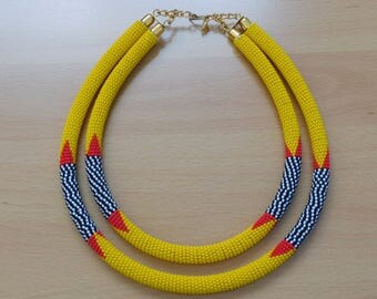 MultiStrand/ Double strand Traditional Zulu necklace/Maasai beaded Neckpiece/Statement Neckpiece/Glass Beaded Modern piece