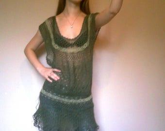 Crocheted linen    tunic