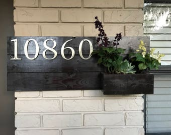 Custom Reclaimed Wood House Address Sign/Plague with planter