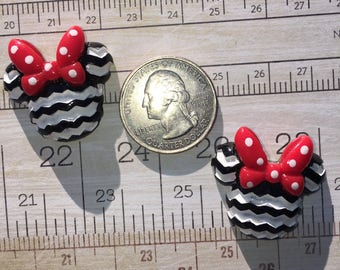 Mouse Chevron flat back resins Cabochons Lot of 2 pieces Bow Making Crafting Embellishment Minnie inspired