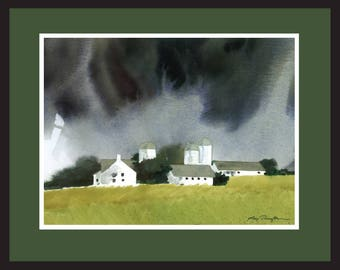 A Time For Rain      Watercolor      Barns      Painting
