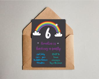 Childrens Rainbow Birthday Party Invite, Children's Birthday Invite, 6th Birthday, Kids Birthday, Custom Printable