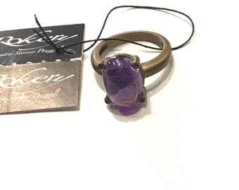Brass ring and Amethyst 80004396
