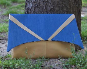 Contrast Geometric Faux Gold Metallic -vs- Blue Denim Envelope Style Clutch