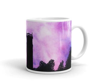 Tower at purple sunset landscape original unique watercolor painting white glossy mug