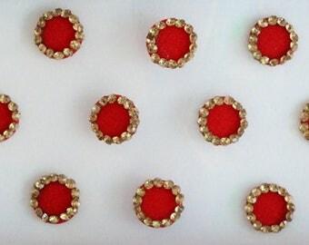 18 Red Plain Fancy Round Bindis,Round Bindis,Velvet Red Bindis,Red Round Face Jewels Bindis,Bollywood Bindis,Self Adhesive Stickers Pack