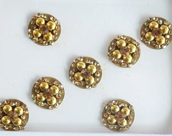 7 Gold Round Bindis ,Bridal Gold Bindis,Stone Bindis,Gold Face Jewels Bindis,India Bindis,Bollywood Bindis,Fake Belly Button Sticker