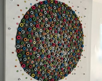 Spacenuts - Wall art sculpture created from nuts and washers