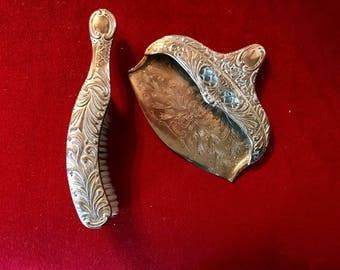 Antique Crumb Catcher, Dust Pan & Brush