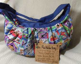 "Recycled /canvas hobo bag ""Pet Shop"""