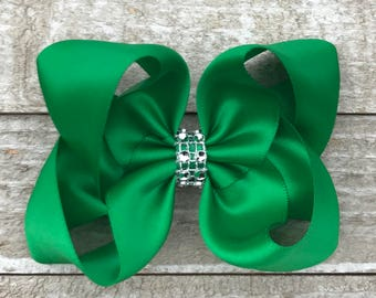 Green Satin Twisted Boutique Hair Bow With Rhinestone Center