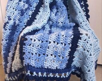 Handmade Crocheted Blue Baby Blanket