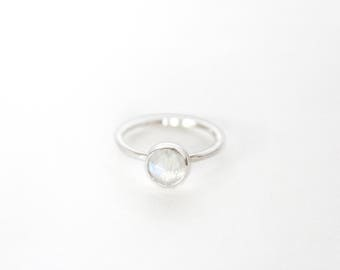 Faceted Moonstone Ring - Sterling Silver - Natural Gemstone Ring - Gemstone Ring - Moonstone Jewelry - Moonstone Ring