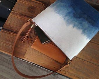 Women's Shoulder Bag, Linen and Cotton Shoulder Bag, Linen Leather Bag, Linen Handbag, Indigo Dyed Shoulder bag, Indigo Handbag
