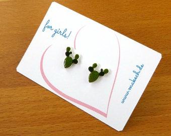 Girl children jewelry ear studs earrings Cactus Silver 925