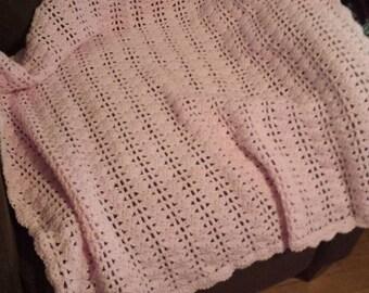 Pink Crochet Baby Blanket