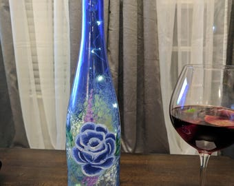 Hand-painted wine bottle with rechargeable lights, (cordless)
